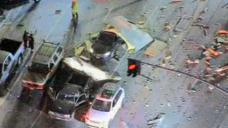 Explosion Amid Box Truck Contents Scatters Debris