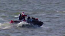Santa and Elves Arrive By Jet Ski