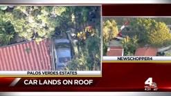 Car Crashes On Palos Verdes Estates Roof