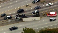Big Rig Overturns on 91 Freeway at 110
