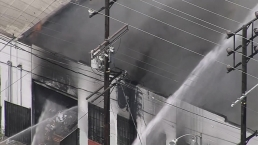 Fire Burns Commercial Building in Boyle Heights