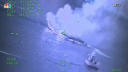 US Coast Guard Footage Shows Boat Fire During Attempted Rescue