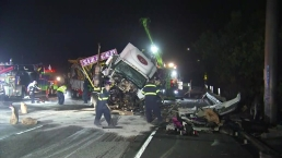 Big Rig Towing a Carnival Ride Crashes in Long Beach