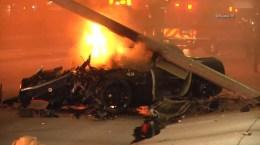 Corvette Burns After Crash Into Oxnard Restaurant