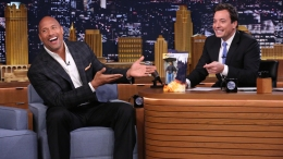 Johnson Receives Action Figure From Jimmy Fallon