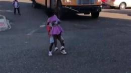 Adorable Moment: Boy Runs Off School Bus to Hug Excited Sis