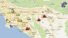 Map: Locations in Alleged LAPD Revenge Plot