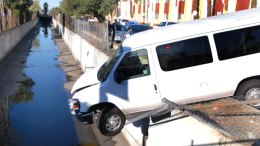 Crash Sends Child-Filled Van Hanging Over Wash