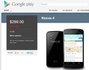 Nexus 4 Sells Out at Google Play