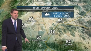 After patchy fog Saturday morning with a good deck of Marine Layer clouds above, temperatures were expected to be a bit warmer in the region. Cloudy conditions were expected during the day before a slight chance of drizzle overnight. David Biggar has your First Alert Forecast on Saturday, Dec. 10, 2016.