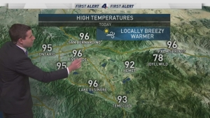 <p>&nbsp;Offshore winds are increasing both temperatures and fire dangers. David Biggar has your First Alert Forecast on Sunday, Oct. 22, 2017.</p>