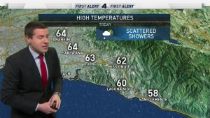 <p>Scattered mountain snow and scattered showers for some areas across SoCal.</p> <p>&nbsp;</p>