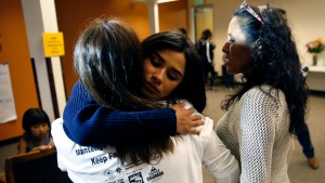 Actor Diane Guerrero Meets Immigrant Taking Refuge in Church