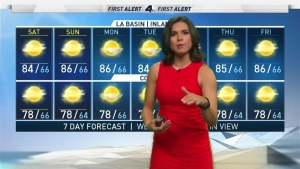 <p>From Sunday into Monday, mid and high level clouds from this storm will move into SoCal but don't expect any rain.</p>