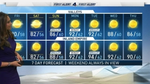 <p>Strong winds swept across Southern California overnight, and there's more on the way. Shanna Mendiola has the forecast for Friday Oct. 19, 2019.</p>