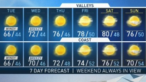 <p>The weather is warming up. Anthony Yanez has your First Alert Forecast on NBC4 News at 4 p.m. on Jan. 21, 2019.</p>