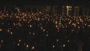 Charlottesville Community Sings at Candlelight Vigil