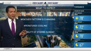 <p>Temps are coming down about 10 degrees in Southern California. Anthony Yanez has the forecast for the NBC4 News on Saturday, Oct. 21, 2018.</p>