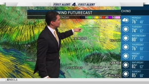 <p>Winds warnings are in effect through Tuesday while temperatures warm up this week. Anthony Yanez has your First Alert forecast for Sunday, March 26, 2017.</p>
