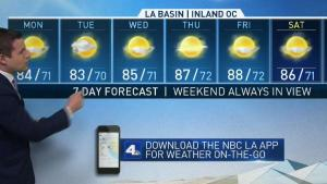 <p>Monday will see very little change in temperatures. David Biggar has the First Alert Forecast on NBC4 News at 5 p.m. on July 15, 2018.</p>