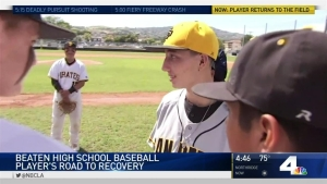 Student Athlete Who Was Beaten Returns to Field for First Pitch