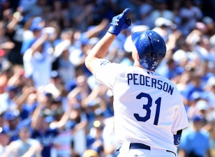 Pederson Promoted to Leadoff Spot Against Giants