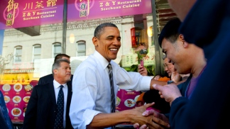 President Barack Obama Stops in Chinatown
