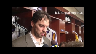 Video: Lakers' Gasol Answering Questions After Concussion