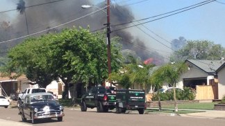 Homes Evacuated in Santee Fire