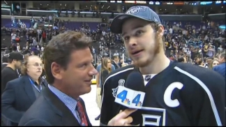 Dustin Brown Ambushes On-Ice Interview