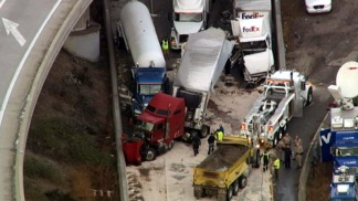 "Trucks Piled ""Wall to Wall"""
