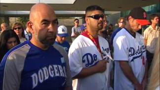 Dodgers, Giants Fans Attend Vigil