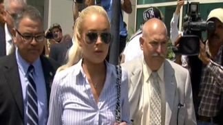 Raw Video: Lohan Exits Court