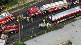 Car Collides With Metro Bus in Hollywood