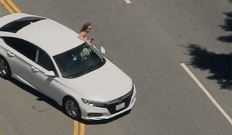 Woman in Maxi Dress Emerges From Car in Stolen Sedan Chase in West LA