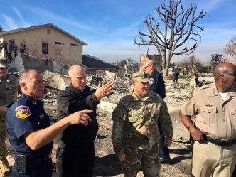 Gov. Brown Surveys Damage From SoCal Wildfires
