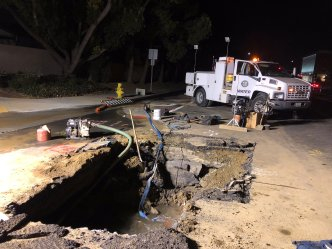 Water Main Break, Sink Hole Shut Down Street Near CSU Fullerton