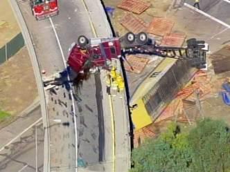 Big Rig Crashes Off Transition Road