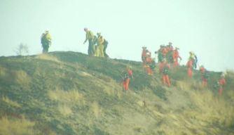 Brush Fire Burns Hillside Near Olive View-UCLA Medical Center