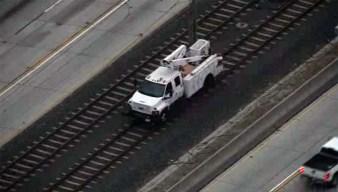 Crews Work to Repair Overhead Power Line on Metro Gold Line in Pasadena