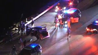 Police Chase Ends in Freeway Crash
