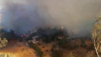 Raw Video: Brush Fire Burns Near Riverside Homes