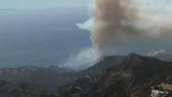 40-Acre Brush Fire Burning Slowly Uphill in Malibu