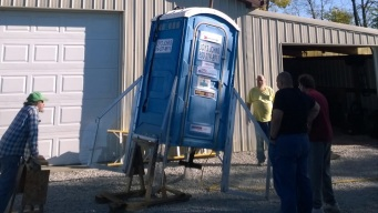 Rocket Fans Cheer as Porta-Potty Blasts Off