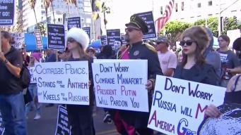 Anti-Trump Protesters Gather in Downtown LA