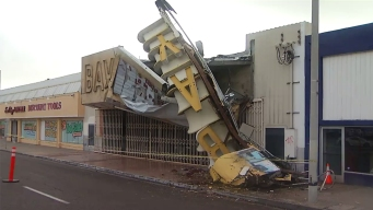 Storm Topples 'Bay' Theatre Sign at National City Landmark