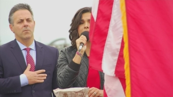 Belen Sings the National Anthem at the Unveiling of the Battleship IOWA Cam