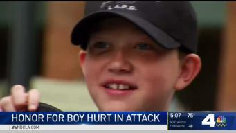 Boy Hurt in Attack Honored