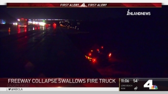 Cajon Pass Collapse Swallows Fire Truck