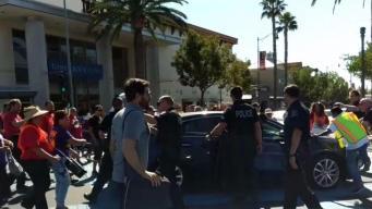 Car Runs Into Crowd of Protesters in Brea